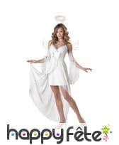 Costume d'ange blanc avec voiles pour femme