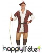 Costume d'archer médiéval pour homme, marron