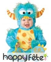 Combinaison de bébé monstre bleu, luxe