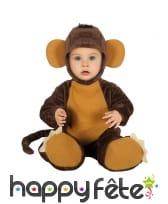 Combinaison de bébé singe avec coiffe et chaussons