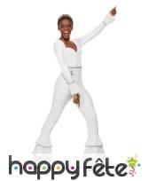 Combinaison disco blanche pattes d'eph pour femme, image 1