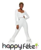 Combinaison disco blanche pattes d'eph pour femme