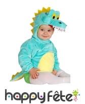 Costume de bébé crocodile bleu avec capuche