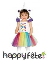 Costume de bébé licorne coloré avec tulle