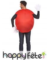 Costume de bonbon rouge pour adulte avec gants, image 2