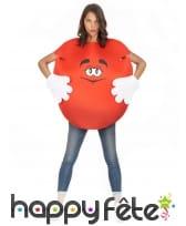 Costume de bonbon rouge pour adulte avec gants, image 3