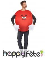 Costume de bonbon rouge pour adulte avec gants