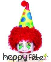 Chapeau de clown avec cheveux rouges