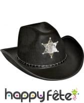 Chapeau de cow-boy shérif noir adulte