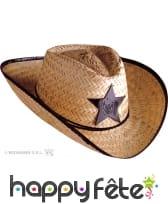 Chapeau de cow boy sheriff en paille adulte