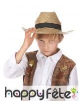 Chapeau de cowboy en paille taille enfant, image 1