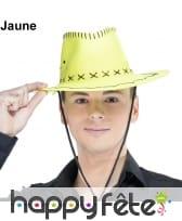 Chapeau de cowboy fluo et coutures noires, image 1