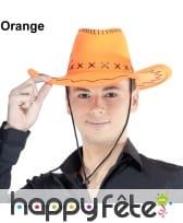Chapeau de cowboy fluo et coutures noires, image 2