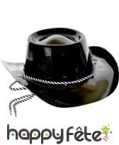 Chapeau de cowboy noir en plastique, adulte