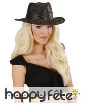 Chapeau de cowboy noir uni en paille