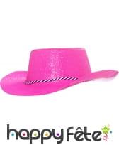 Chapeau de cowboy pailletté fuschia fluo