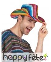 Chapeau de cowboy rayé multicolore, image 1
