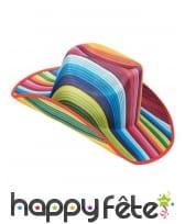 Chapeau de cowboy rayé multicolore