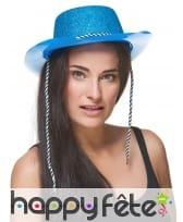 Chapeau de cowgirl bleu pailletté, image 1