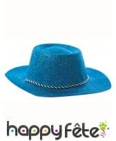 Chapeau de cowgirl bleu pailletté, image 2