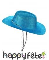 Chapeau de cowgirl bleu pailletté