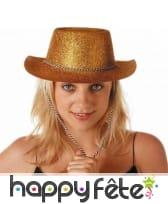 Chapeau de cowgirl doré avec paillettes