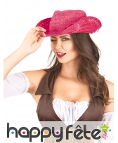 Chapeau de cowgirl rose uni, image 1
