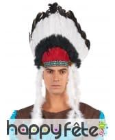 Coiffe de chef indien noire blanche pour adulte, image 2