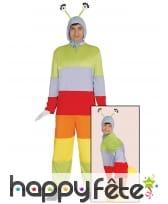 Combinaison de chenille multicolore pour adulte