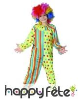 Combinaison de clown colorée à pois et rayures