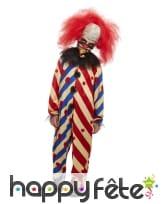 Combinaison de clown tueur pour garçon avec masque