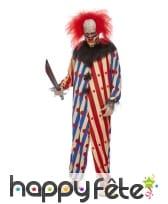Combinaison de clown tueur rouge bleu pour homme