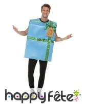 Costume de cadeau bleu pour adulte