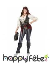 Costume de capitaine de pirate rayé sexy, femme, image 1