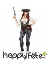 Costume de capitaine de pirate rayé sexy, femme, image 2