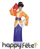 Costume de chinoise pour femme, orange et violet