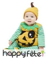 Costume de citrouille pour bébé, orange et vert, image 1