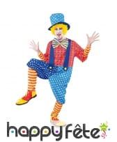 Costume de clown en salopette bleu pour homme