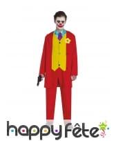 Costume de clown tueur pour ado, rouge et jaune