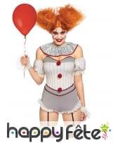 Costume de clown tueur sexy gris et blanc, femme