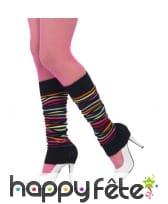 Chaussettes de danseuse noires lignes multicolores