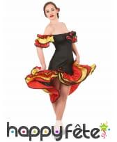 Costume danseuse de flamenco rouge noir or, image 1