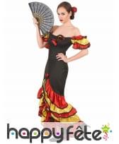 Costume danseuse de flamenco rouge noir or, image 2