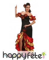 Costume danseuse de flamenco rouge noir or