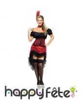 Costume danseuse de saloon noir et rouge