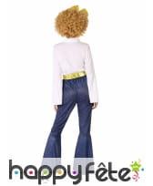 Costume de danseuse disco jeans et doré, adulte, image 2