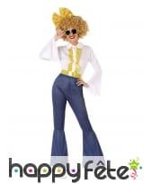 Costume de danseuse disco jeans et doré, adulte