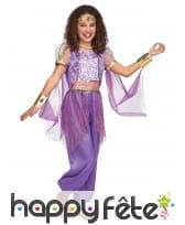 Costume de danseuse orientale violette pour enfant