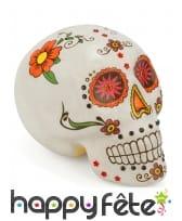 Crâne Dia de los muertos décoratif de 15cm