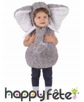 Costume d'éléphant gris en peluche pour enfant